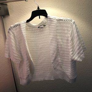 White knit formal bolero style sweater